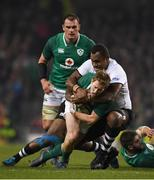 18 November 2017; Kieran Marmion of Ireland is tackled by Leone Nakarawa of Fiji during the Guinness Series International match between Ireland and Fiji at the Aviva Stadium in Dublin. Photo by Eóin Noonan/Sportsfile
