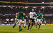 18 November 2017; Jack Conan of Ireland goes over to score his side's third try during the Guinness Series International match between Ireland and Fiji at the Aviva Stadium in Dublin. Photo by Eóin Noonan/Sportsfile
