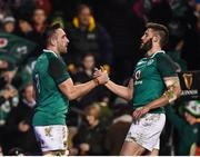 18 November 2017; Jack Conan of Ireland, left, is congratulated by teammate Stuart McCloskey after scoring his side's third try during the Guinness Series International match between Ireland and Fiji at the Aviva Stadium in Dublin. Photo by Seb Daly/Sportsfile