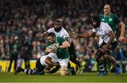 18 November 2017; Jack Conan of Ireland is tackled by Campese Ma'afu, left and Manasa Saulo of Fiji during the Guinness Series International match between Ireland and Fiji at the Aviva Stadium in Dublin. Photo by Eóin Noonan/Sportsfile
