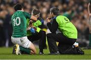 18 November 2017; Joey Carbery of Ireland receives treatment by the team doctor during the Guinness Series International match between Ireland and Fiji at the Aviva Stadium in Dublin. Photo by Eóin Noonan/Sportsfile