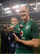 18 November 2017; Devin Toner of Ireland with his 8 week old son Max following the Guinness Series International match between Ireland and Fiji at the Aviva Stadium in Dublin. Photo by Seb Daly/Sportsfile