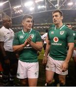 18 November 2017; Ian Keatley, left, and Darren Sweetnam of Ireland following the Guinness Series International match between Ireland and Fiji at the Aviva Stadium in Dublin. Photo by Seb Daly/Sportsfile