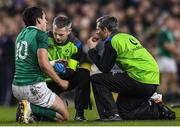 18 November 2017; Joey Carbery of Ireland receives treatment during the Guinness Series International match between Ireland and Fiji at the Aviva Stadium in Dublin. Photo by Eóin Noonan/Sportsfile