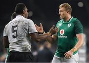 18 November 2017; Kieran Treadwell of Ireland and Leone Nakarawa of Fiji after after the Guinness Series International match between Ireland and Fiji at the Aviva Stadium in Dublin. Photo by Eóin Noonan/Sportsfile