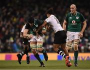 18 November 2017; Ultan Dillane of Ireland is tackled by Leone Nakarawa, left, and Ben Volavola of Fiji during the Guinness Series International match between Ireland and Fiji at the Aviva Stadium in Dublin. Photo by Seb Daly/Sportsfile
