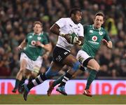 18 November 2017; Kini Murimurivalu of Fiji in action against Darren Sweetnam of Ireland during the Guinness Series International match between Ireland and Fiji at the Aviva Stadium in Dublin. Photo by Seb Daly/Sportsfile
