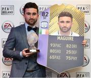 18 November 2017; PFA Ireland EA SPORTS™ Players' Player of the Year Winner Sean Maguire, pictured at The Marker Hotel in Dublin, with his FIFA 18 Ultimate Team award-winner item, available in game from midnight on Saturday 18th November. Celebrating the win and mirroring his tremendous performances on the pitch throughout the year, this in-form FIFA Ultimate Team item sees Sean's overall rating go from 62 to 82. With an incredible pace of 93, fans will have just one week to pack this very special item. Photo by Stephen McCarthy/Sportsfile
