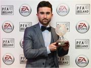 18 November 2017; PFA Ireland EA SPORTS™ Players' Player of the Year Winner Sean Maguire, pictured at The Marker Hotel in Dublin. Sean also received an FIFA 18 Ultimate Team award-winner item, available in game from midnight on Saturday 18th November. Celebrating the win and mirroring his tremendous performances on the pitch throughout the year, this in-form FIFA Ultimate Team item sees Sean's overall rating go from 62 to 82. With an incredible pace of 93, fans will have just one week to pack this very special item. Photo by Stephen McCarthy/Sportsfile