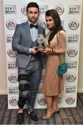 18 November 2017; PFA Ireland EA SPORTS™ Players' Player of the Year Winner Sean Maguire and partner Claudia Rose Long, pictured at The Marker Hotel in Dublin. Sean also received an FIFA 18 Ultimate Team award-winner item, available in game from midnight on Saturday 18th November. Celebrating the win and mirroring his tremendous performances on the pitch throughout the year, this in-form FIFA Ultimate Team item sees Sean's overall rating go from 62 to 82. With an incredible pace of 93, fans will have just one week to pack this very special item. Photo by Stephen McCarthy/Sportsfile