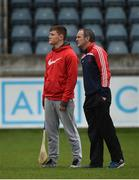 19 November 2017; Con O'Callaghan of Cuala and Cuala manager Mattie Kenny ahead of the AIB Leinster GAA Hurling Senior Club Championship Semi-Final match between Cuala and St Martin's GAA Club at Parnell Park in Dublin. Photo by Cody Glenn/Sportsfile