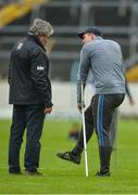 19 November 2017; Injured Na Piarsaigh player Shane Dowling with Doctor Tadhg O'Sullivan, who treated Dowling, and whose sons David, Tim, Barry and Brian are in the Ballygunner squad, before the AIB Munster GAA Hurling Senior Club Championship Final match between Na Piarsaigh and Ballygunner at Semple Stadium in Thurles, Co Tipperary. Photo by Piaras Ó Mídheach/Sportsfile