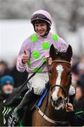 19 November 2017; Jockey Paul Townend celebrates after winning the Morgiana hurdle on Faugheen at Punchestown Racecourse in Naas, Co Kildare. Photo by Ramsey Cardy/Sportsfile