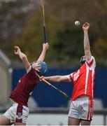 19 November 2017; Niall Carty of Cuala in action against Conor Firman of St. Martin's during the AIB Leinster GAA Hurling Senior Club Championship Semi-Final match between Cuala and St Martin's GAA Club at Parnell Park in Dublin. Photo by Cody Glenn/Sportsfile