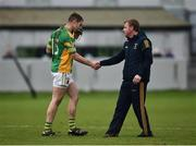 19 November 2017; Kilcormac - Killoughey manager Stephen Byrne, right, shakes hands with Daniel Currams as he is substituted during the AIB Leinster GAA Hurling Senior Club Championship Semi-Final match between Kilcormac - Killoughey and Mount Leinster Rangers at O'Connor Park in Tullamore, Co Offaly. Photo by Seb Daly/Sportsfile
