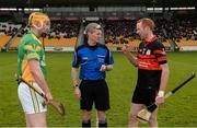 19 November 2017; Referee John O'Brien with captains Peter Healion of Kilcormac - Killoughey, left, and Edward Coady of Mount Leinster Rangers prior to the AIB Leinster GAA Hurling Senior Club Championship Semi-Final match between Kilcormac - Killoughey and Mount Leinster Rangers at O'Connor Park in Tullamore, Co Offaly. Photo by Seb Daly/Sportsfile