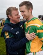 19 November 2017; Kilcormac - Killoughey manager Stephen Byrne, left, congratulates Daniel Currams following their side's victory during the AIB Leinster GAA Hurling Senior Club Championship Semi-Final match between Kilcormac - Killoughey and Mount Leinster Rangers at O'Connor Park in Tullamore, Co Offaly. Photo by Seb Daly/Sportsfile