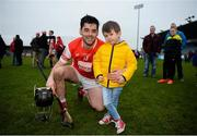 19 November 2017; Calum Sheanon of Cuala with nephew Leo Donovan, age 4, after the AIB Leinster GAA Hurling Senior Club Championship Semi-Final match between Cuala and St Martin's GAA Club at Parnell Park in Dublin. Photo by Cody Glenn/Sportsfile