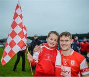 19 November 2017; Cian O'Callaghan of Cuala with supporter Cian Reidy, age 7, after the AIB Leinster GAA Hurling Senior Club Championship Semi-Final match between Cuala and St Martin's GAA Club at Parnell Park in Dublin. Photo by Cody Glenn/Sportsfile