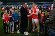 19 November 2017; Con O'Callaghan of Cuala is presented with the Man of the Match award from Eddie Buckley, Head of AIB - Dublin South after the AIB Leinster GAA Hurling Senior Club Championship Semi-Final match between Cuala and St Martin's GAA Club at Parnell Park in Dublin. Photo by Cody Glenn/Sportsfile