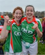 19 November 2017; Emma Cosgrove and Erina Flannery of Carnacon celebrate after the All-Ireland Ladies Football Senior Club Championship Semi-Final match between St Macartan's and Carnacon at Fr. Hackett Park in Augher, Tyrone. Photo by Oliver McVeigh/Sportsfile