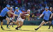 19 November 2017; Johnny Coen of Galway in action against, from left, Shane Barrett, Stephen O'Connor and Cian Mac Gabhann of Dublin during the AIG Super 11's Fenway Classic Semi-Final match between Dublin and Galway at Fenway Park in Boston, MA, USA. Photo by Brendan Moran/Sportsfile