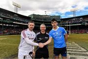 19 November 2017; Team captains Colm Callanan of Galway and Danny Sutcliffe of Dublin with referee Johnny Ryan before the AIG Super 11's Fenway Classic Semi-Final match between Dublin and Galway at Fenway Park in Boston, MA, USA. Photo by Brendan Moran/Sportsfile