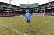 19 November 2017; Dublin captain Danny Sutcliffe walks onto the pitch before the AIG Super 11's Fenway Classic Semi-Final match between Dublin and Galway at Fenway Park in Boston, MA, USA. Photo by Brendan Moran/Sportsfile