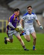 19 November 2017; Gary McKenna of Derrygonnelly in action against Vincent Coyle of Cavan Gaels during the AIB Ulster GAA Football Senior Club Championship Semi-Final Replay match between Cavan Gaels and Derrygonnelly Harps at St Tiernach's Park in Clones, Monaghan. Photo by Sam Barnes/Sportsfile