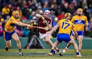 19 November 2017; Éanna Burke of Galway in action against David McInerney, left, and Gearoid O'Connell of Clare during the AIG Super 11's Fenway Classic Final match between Clare and Galway at Fenway Park in Boston, MA, USA. Photo by Brendan Moran/Sportsfile