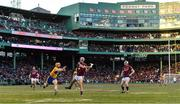 19 November 2017; Johnny Coen of Galway has a shot on goal despite the best efforts of David McInerney of Clare during the AIG Super 11's Fenway Classic Final match between Clare and Galway at Fenway Park in Boston, MA, USA. Photo by Brendan Moran/Sportsfile