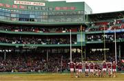 19 November 2017; The Galway team put on their helmets before the AIG Super 11's Fenway Classic Final match between Clare and Galway at Fenway Park in Boston, MA, USA. Photo by Brendan Moran/Sportsfile