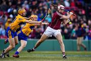 19 November 2017; Conor Cooney of Galway in action against David McInerney and Podge Collins of Clare during the AIG Super 11's Fenway Classic Final match between Clare and Galway at Fenway Park in Boston, MA, USA. Photo by Brendan Moran/Sportsfile