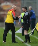 19 November 2017; Ballygunner manager Fergal Hartley in conversation with linesman Fergal Horgan during the AIB Munster GAA Hurling Senior Club Championship Final match between Na Piarsaigh and Ballygunner at Semple Stadium in Thurles, Co Tipperary. Photo by Piaras Ó Mídheach/Sportsfile