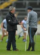19 November 2017; Injured Na Piarsaigh player Shane Dowling in conversation with Doctor Tadhg O'Sullivan, who treated Dowling, and whose sons David, Tim, Barry and Brian are in the Ballygunner squad, before the AIB Munster GAA Hurling Senior Club Championship Final match between Na Piarsaigh and Ballygunner at Semple Stadium in Thurles, Co Tipperary. Photo by Piaras Ó Mídheach/Sportsfile