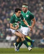 18 November 2017; Darren Sweetnam of Ireland on his way to scoring his side's first try during the Guinness Series International match between Ireland and Fiji at the Aviva Stadium in Dublin. Photo by Eóin Noonan/Sportsfile