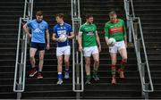 20 November 2017; Footballers, from left, Padraig McKeever of Simonstown, John Heslin of St Loman's Mullingar, Daryl Flynn of Moorefield, and Peter Dignam of Rathnew during AIB Leinster GAA Club Senior Football Championship Semi-Final Media Day at Croke Park in Dublin. Photo by Piaras Ó Mídheach/Sportsfile