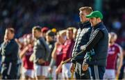 19 November 2017; Joe Canning and David Burke, right, of Galway look on during the AIG Super 11's Fenway Classic Semi-Final match between Dublin and Galway at Fenway Park in Boston, MA, USA. Photo by Brendan Moran/Sportsfile