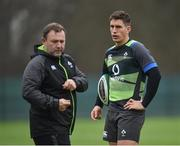 21 November 2017; Ian Keatley, right, in conversation with kicking coach Richie Murphy during Ireland rugby squad training at Carton House in Maynooth, Co Kildare. Photo by Seb Daly/Sportsfile