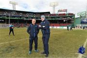 19 November 2017; Dublin manager Pat Gilroy, right, with selector Anthony Cunningham prior to the AIG Super 11's Fenway Classic Semi-Final match between Dublin and Galway at Fenway Park in Boston, MA, USA. Photo by Brendan Moran/Sportsfile