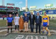 19 November 2017; Team captains Colm Callanan of Galway and Patrick O'Connor of Clare and referee Diarmuid Kirwan with An Tanáiste Frances Fitzgerald, T.D., Mark Lev, Managing Director, Fenway Sports Management, Dermot Earley, CEO, GPA, and Declan O'Rourke, General Manager AIG Ireland, prior to the AIG Super 11's Fenway Classic Final match between Clare and Galway at Fenway Park in Boston, MA, USA. Photo by Brendan Moran/Sportsfile