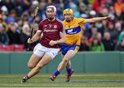 19 November 2017; Conor Cooney of Galway in action against Podge Collins of Clare during the AIG Super 11's Fenway Classic Final match between Clare and Galway at Fenway Park in Boston, MA, USA. Photo by Brendan Moran/Sportsfile