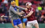 19 November 2017; Donal Touhey of Clare holds off the challenge of Conor Cooney of Galway during the AIG Super 11's Fenway Classic Final match between Clare and Galway at Fenway Park in Boston, MA, USA. Photo by Brendan Moran/Sportsfile