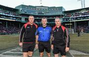 19 November 2017; Match officials, from left, Alan Kelly, Diarmuid Kirwan and Johnny Ryan prior to the AIG Super 11's Fenway Classic Final match between Clare and Galway at Fenway Park in Boston, MA, USA. Photo by Brendan Moran/Sportsfile