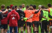 21 November 2017; Munster technical coach Felix Jones, alongside Simon Zebo and head coach Johann van Graan, speaks to his players during Munster Rugby Squad Training at the University of Limerick in Limerick. Photo by Diarmuid Greene/Sportsfile