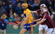 19 November 2017; Peter Duggan of Clare in action against Adrian Tuohy and Joseph Cooney of Galway during the AIG Super 11's Fenway Classic Final match between Clare and Galway at Fenway Park in Boston, MA, USA. Photo by Brendan Moran/Sportsfile