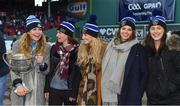 19 November 2017; Members of the Dublin Ladies Football team, from left, Sinead Finnegan, Sinead Aherne, Fiona Hudson, Noelle Healy and Lyndsey Davey with the Brendan Martin Cup at the AIG Super 11's Fenway Classic Final match between Clare and Galway at Fenway Park in Boston, MA, USA. Photo by Brendan Moran/Sportsfile