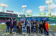 19 November 2017; Members of the Dublin Men's and Dublin Ladies Football teams with the Sam Maguire and Brendan Martin Cups at the AIG Super 11's Fenway Classic Final match between Clare and Galway at Fenway Park in Boston, MA, USA. Photo by Brendan Moran/Sportsfile