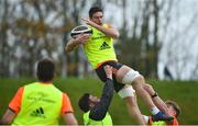 21 November 2017; Billy Holland of Munster lifted by team-mates Rory Burke, left, and Chris Cloete during Munster Rugby Squad Training at the University of Limerick in Limerick. Photo by Diarmuid Greene/Sportsfile
