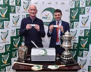 22 November 2017; Kilkenny manager Brian Cody with Regional Top Oil Manager James Fitzgerald in attendance at the Top Oil Leinster Senior A Hurling Championship Launch at St Kieran's College in Kilkenny. Photo by Matt Browne/Sportsfile